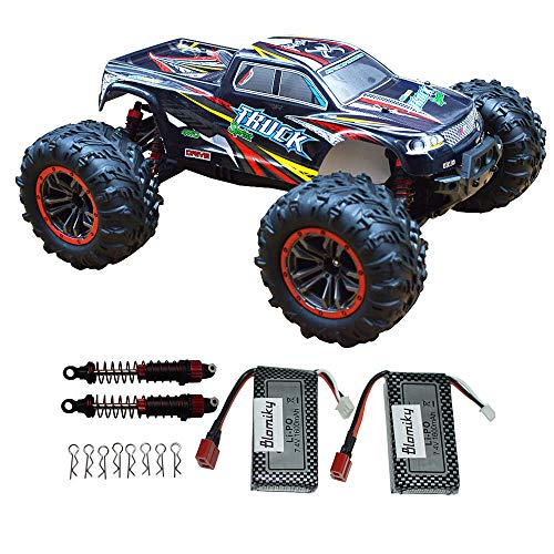 Blomiky Over Size 1:10 Scale High Speed 46km/h+ IPX4 Waterproof Remote Control Monster Car Truck Bonus Battery 9125 Black Red