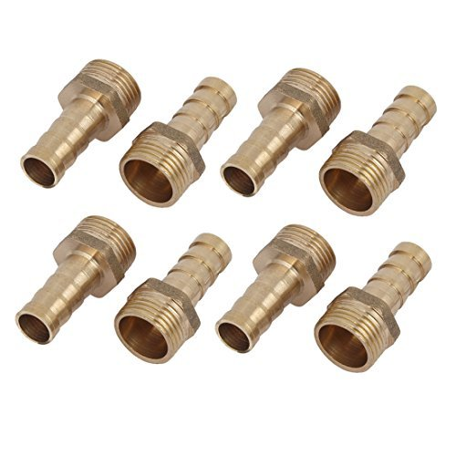 3//8BSP Male Thread 8mm Hose Barb Tubing Fitting Coupler Connector Adapter 8pcs