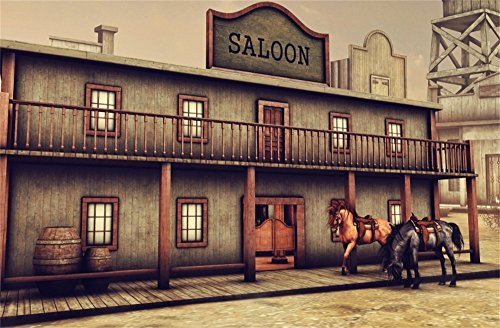 Leowefowa 9X6FT Ancient Western Saloon Backdrop Wild West Cowboy Backdrops for Photography Rustic Wood House Vinyl Photo Background American Culture Historic Kids Adults Travel Portraits Studio ()