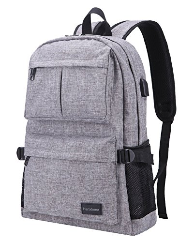 Hanxiema Travel Laptop Backpack Fit 15.6 Inch Laptop or Macbook Oxford Cloth with USB Charging Port Large Capacity School Computer Bag for Men Women (Grey HXm-02-1) by Hanxiema (Image #7)'