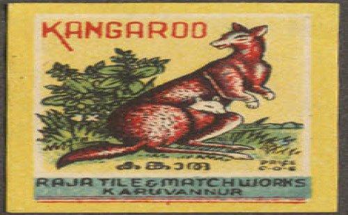Kangaroo matchbox label Raja Tile Wks Karuvannur India