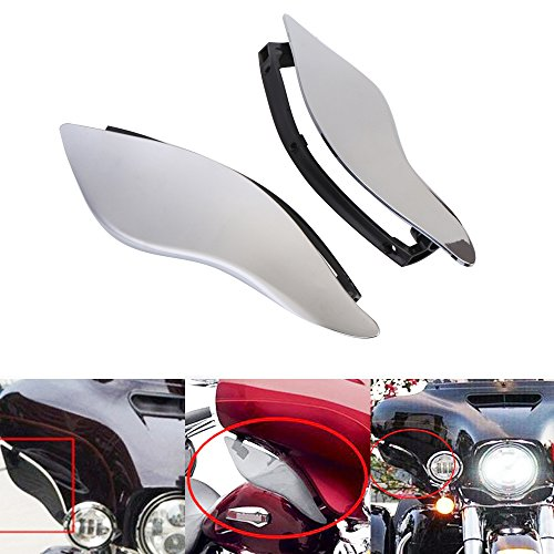 Motorgogo Adjustable ABS Plastic Adjustable Batwing Fairing Windscreen Side Wings Air Deflectors Upper Fairing Windshield for Harley Touring Electra Street Ultra Limited Tri Glide 2014-2017(Chrome)