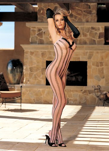 Women's Bodystocking Stripe (Pink/Black;One Size) (Hollywood Stretch Bodystocking Shirley)