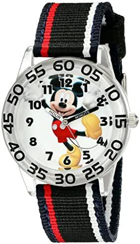 Disney Kids' W001944 Mickey Mouse Analog Watch with Black Band