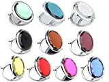 Cheap 10pcs Different Colors Double Compact Cosmetic Makeup Round Pocket Purse Magnification Jewel Mirror (10pcs)