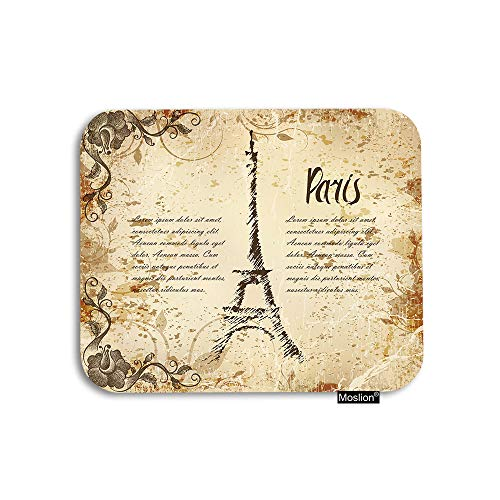 Moslion Paris Mouse Pad Vintage French Letter Sheffield Tower Word Flower Leaf Gaming Mouse Pad Rubber Large Mousepad for Computer Desk Laptop Office Work 7.9x9.5 Inch Brown