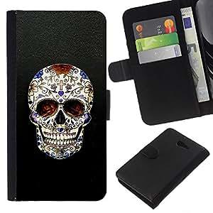 iBinBang / Flip Funda de Cuero Case Cover - Cráneo Cruz Christian Death Bling motorista - Sony Xperia M2