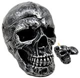 Ebros Death Curse Gothic Metallica Human Skull Ashtray Resin Figurine Day Of The Dead Halloween Spooky Decor Cigarette Ashtray With Lid