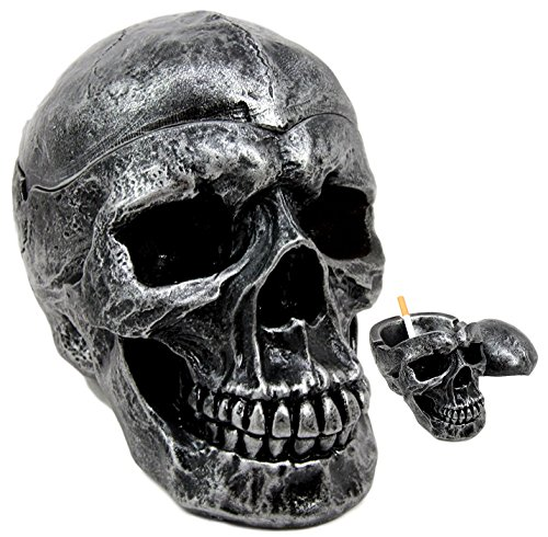 Ebros Death Curse Gothic Metallica Human Skull Ashtray Resin Figurine Day Of The Dead Halloween Spooky Decor Cigarette Ashtray With Lid by Ebros Gift