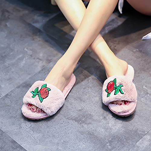 Pink House Indoor Comfort Embroidered Anti Plush Slippers Fur Shoes Lining Slip Flowers Women's Slip on 4q6xBp
