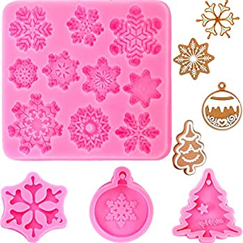Merry Christmas Tree Bell Snowflake Reindeer Silicone Chocolate Candy Mold Cake Cookie Epoxy Resin Keychain Pendent Jewelry Necklace Polymer Clay Plaster Mold 5Pcs//Set Christmas Resin Molds