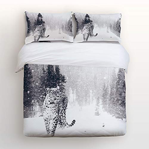 (Cloud Dream Home 4 Piece Bedding Set,Nature Forest Snow Leopard Winter Snow Design Duvet Cover Set Quilt Bedspread Childrens/Kids/Teens/Adults King Size(Extra Large))