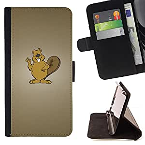 DEVIL CASE - FOR Sony Xperia M2 - Beaver Brown Animal Forest White Teeth Art - Style PU Leather Case Wallet Flip Stand Flap Closure Cover