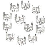 KAKOO Napkin Ring, 12 Pcs Hollow Out Rose Design Metal Napkin Holder for Wedding Party Dinner Table Decor (Silver)