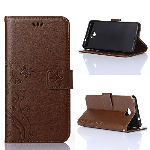COOLKE Retro Mariposas Patrón PU Leather Wallet With Card Pouch Stand de protección Funda Carcasa Cuero Tapa Case Cover para Microsoft Lumia 650 - Rose café marrón