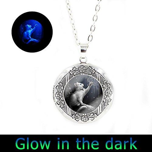 Cat Locket (Glowlala@glow CAT Necklace, Cat Glowing Pendant, Cat Jewelry, Cat Charm, Glass Photo Art Necklace Pendant (locket necklace2))