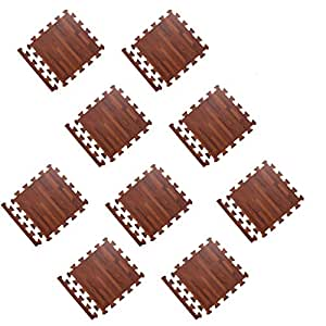 MagiDeal 9Pieces Wood Grain Puzzle Exercise Mat, PE Foam Interlocking Tiles, Protective Flooring for Gym Equipment and Cushion for Workouts - Brown Wood Grain, as described