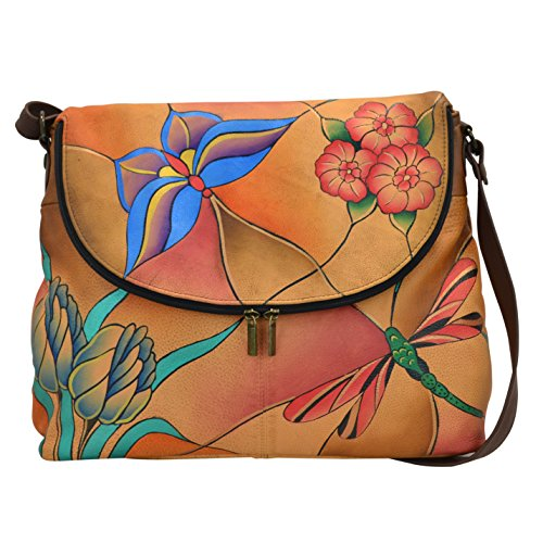 Flower Wallet Leather Hand Painted (Anna by Anuschka Women's Genuine Leather Large Flap-Over Handbag | Cross-Body Organizer | Jeweled Wings)