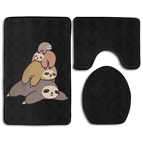 Red Summer Stack (3 Piece Sloth Stack Anti Slip Bath Mat Rug Set Contour Mat And Lid Cover)