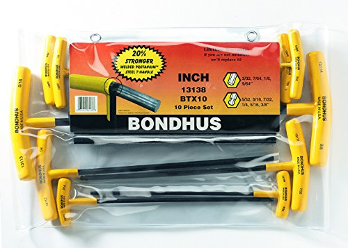 Bondhus 13138 10-Piece T-Handle Balldriver Set, 3/32-3/8""
