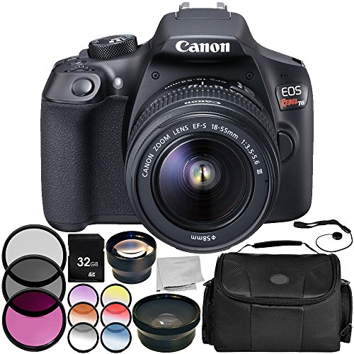 Canon EOS Rebel T6 DSLR Camera with EF-S 18-55mm f/3.5-5.6 III Lens 9PC Accessory Bundle – Includes 32GB SD Memory Card + .43x Professional Wide Angle Lens + More (Certified Refurbished)