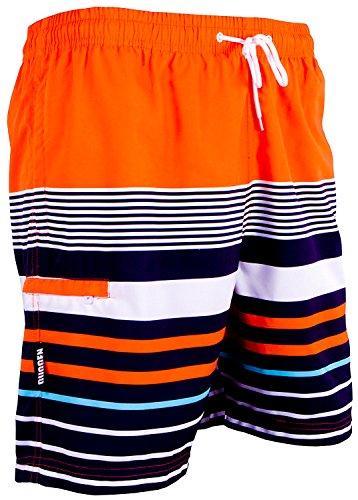 GUGGEN Mountain Badehose für Herren Schnelltrocknende Badeshorts 595 mit Kordelzug Beachshorts Boardshorts Schwimmhose Männer mit Muster orange gestreift