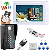 MOUNTAINONE 7'' TFT Wired / Wireless Wifi RFID Password Video Door Phone Doorbell Intercom System with Electric Strike Lock+ IR-CUT HD1000TVL Camera