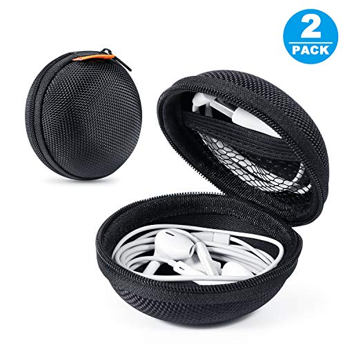 - 2 Packs GLCON Hard Earphone Case Headphone Organizer - Shockproof Mini Earbud Carrying Case for AirPods - High Protection Small EVA Storage Pouch Bluetooth Earpiece Bag - Lightweight Coin Purse