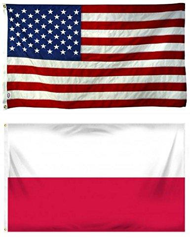 Cheap Wholesale Combo USA American & Poland Polish Plain 4'x6′ Polyester Flags