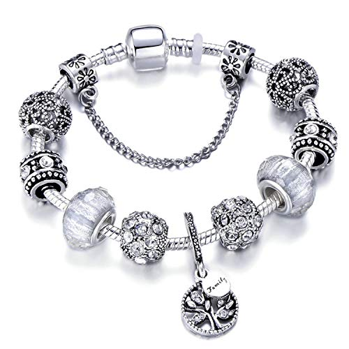 AMAZING AMAZING Vintage Silver Color Charm Bracelet with Tree of Life Pendant & Gold Crystal Ball Brand Bracelet,Black Gun Plated,21cm