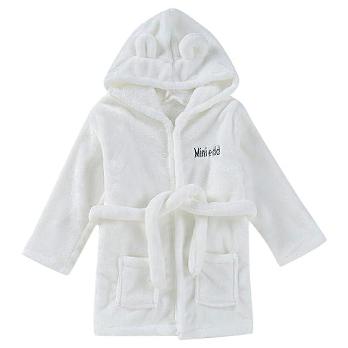 Vovotrade_Ropa fresca para niños Niño pequeño bebé bebé Albornoz sólido algodón Felpa Capucha Albornoz Toalla Pijamas