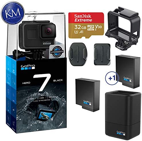 GoPro Hero 7 Black Action Camera w Dual Battery Charger and Extra Battery Bundle