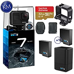 This K&M Bundle Includes:       GoPro HERO 7 Black Action Camera (1) 32GB Micro-SD Card (SanDisk) (1) GoPro Dual Battery Charger with Battery for HERO 7/6/5 Black and HERO 2018         Living up to its action camera moniker, the Go...