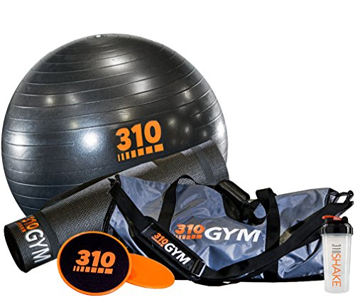 310 Nutrition Home Gym Kit – Includes Core Sliders, Non-Slip Yoga Mat, Yoga Core Exercise Ball with Pump and Protein Shaker