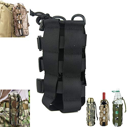 Saking MOLLE Tactical Water Bottle Pouch, Adjustable Outdoor Sport Kettle Carrier Holder (Black)
