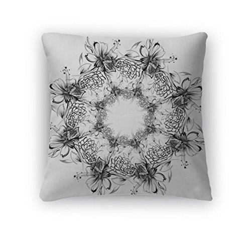Gear New Throw Pillow, 18x18, Flowers Drawing With Simple Pe