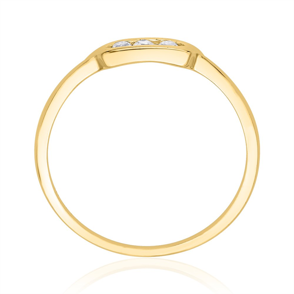 G-H,I2-I3 1//10 cttw, 3 Diamond Promise Ring in 10K Yellow Gold Size-10.5