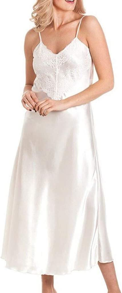 ALOVEMO Ladies Lace Long Nightdress Satin Nightie Deep Front Lace Detail Lingerie Classic Fasion