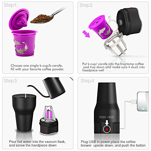 i Cafilas K Mini coffee Maker Portable Espresso Maker Compatible with K pods Automatic Coffee Maker 500ML Stainless Steel Brewer Cup with USB cable by BRBHOM (Image #3)