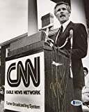 TED TURNER SIGNED CNN CABLE NEWS NETWORK & TURNER BROADCASTING SYSTEM 8x10 PHOTO