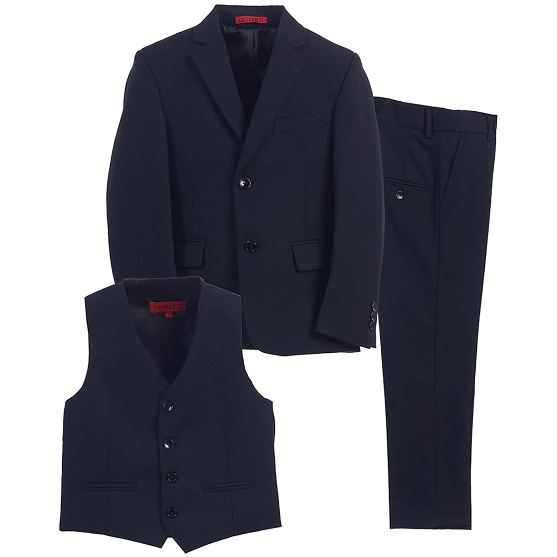 Little Boys Navy Vest Pants Jacket Special Occasion 3 Pcs Suit 2T-7
