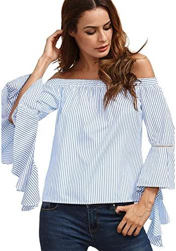 ZANZEA Women's Stripe Long Ruffle Sleeve Off Shoulder Casual Loose Tops Blouse