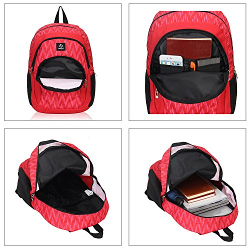 Veegul Cool Backpack Kids Sturdy Schoolbags Back to School Backpack for Boys Girls,Red by Veegul (Image #4)