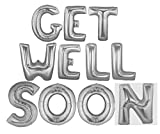 Foil 14'' Letter Balloons Saying Phrase Party Word Decor - ''Get Well Soon'' SILVER Letters
