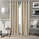 Cheap Elrene Home Fashions Modern Metal Print Linen Single Panel Window Curtain Drape, 50″x95″, Copper