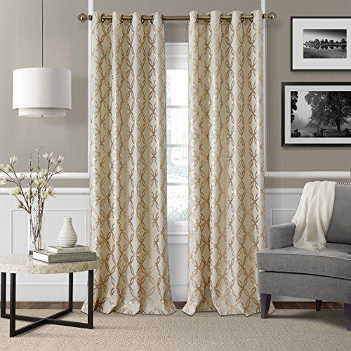 Curtain Copper - Elrene Home Fashions Modern Metal Print Linen Single Panel Window Curtain Drape, 50
