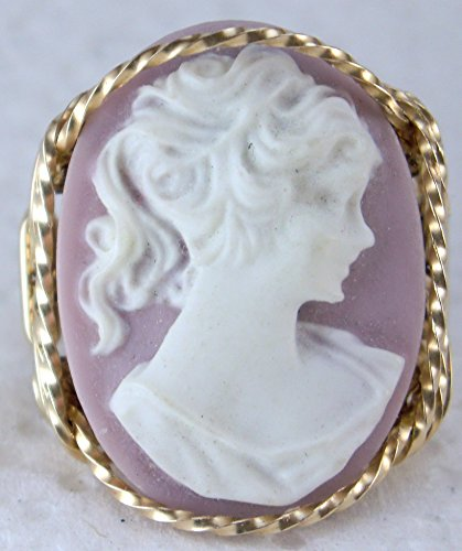 Child Cameo Ring - Pony Tail Girl Large Pink Cameo .925 Sterling Silver Ring or 14k Gold gf Art Jewelry HGJ