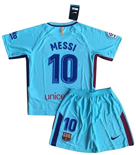 TrendsNow New 2017-2018 Messi #10 Barcelona Away Jersey & Shorts for Kids and Youths (7-8 Years ()