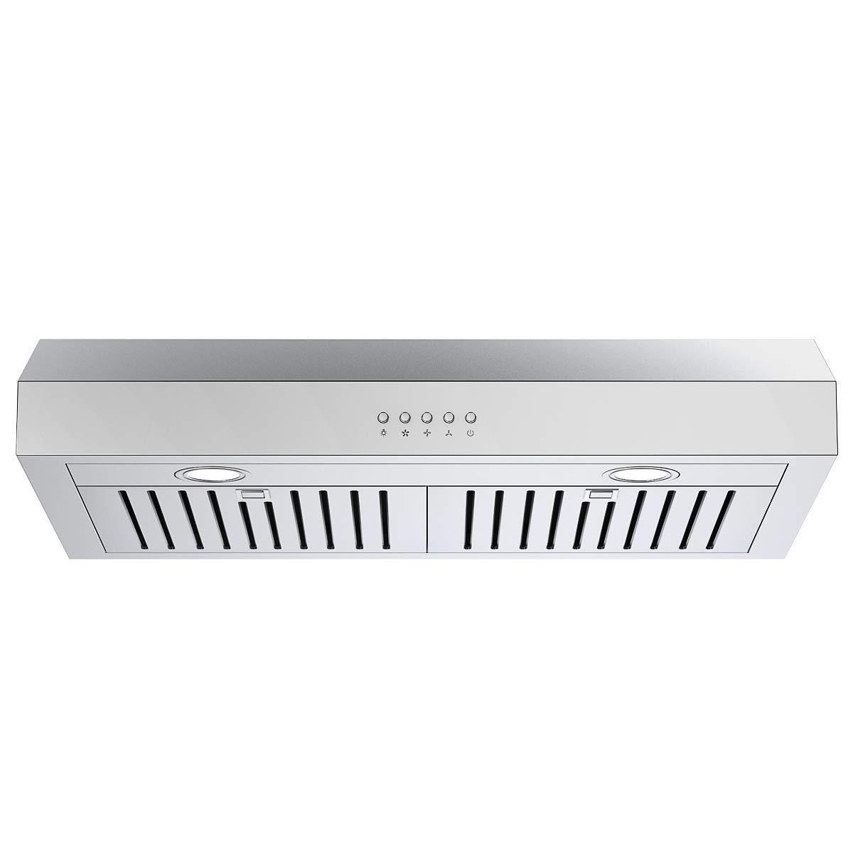 COSTWAY Under-Cabinet Range Hood, 30-Inch 412-CFM, 3-Speed, LED Light Wireless Kitchen Exhaust Fan, Ducted Convertible Duct, Contemporary Design, Reusable Filter, Stainless Steel by COSTWAY
