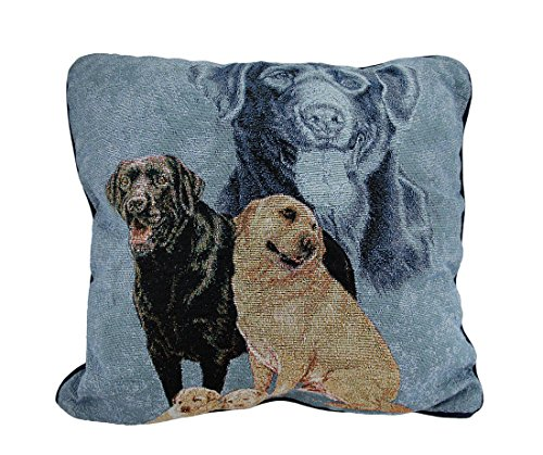 Zeckos Labrador Retriever Family Tapestry Throw Pillow 17...